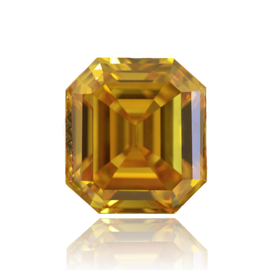 Yellow Diamond, Emerald, Fancy Deep Orangy Yellow, 5.03 Carat