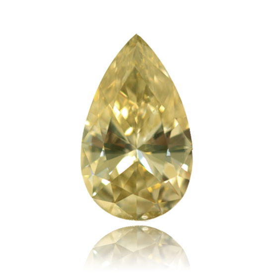 Yellow Diamond, Pear, Fancy Light Yellow, 1.07 Carat