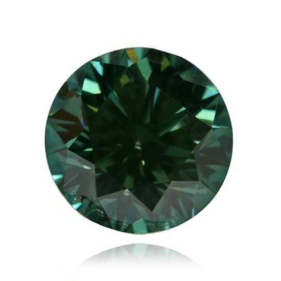 Blue Diamond, Round, Fancy Vivid Green Blue, 0.58 Carat