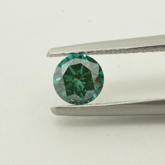 Blue Diamond, Round, Fancy Vivid Green Blue, 0.52 Carat