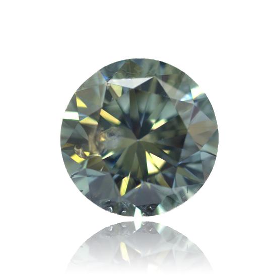Green Diamond, Round, Fancy Vivid Green, 0.10 Carat
