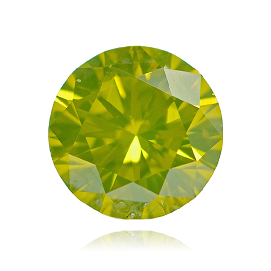 Green Diamond, Round, Fancy Vivid Yellow Green, 0.75 Carat