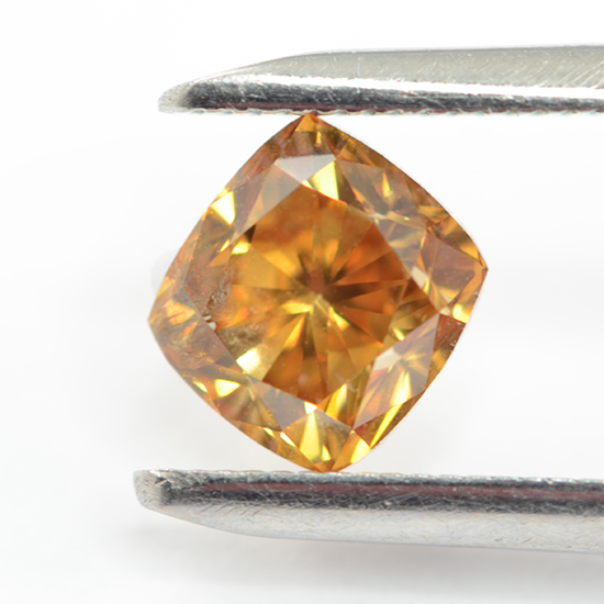 Orange Diamond, Radiant, Fancy Vivid Brown Orange, 1.03 Carat