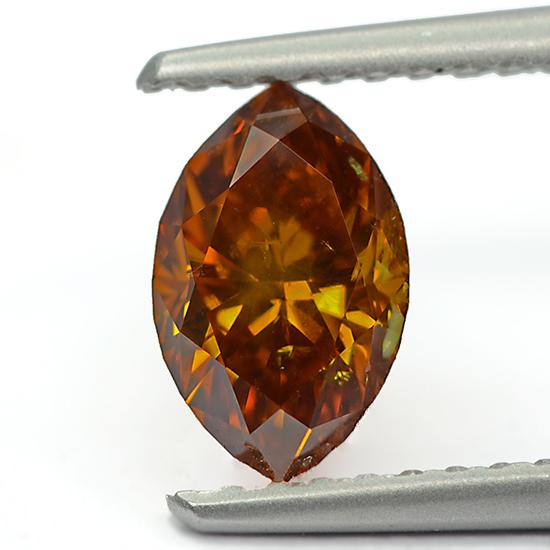 Orange Diamond, Marquise, Fancy Vivid Pinkish Orange, 0.76 Carat