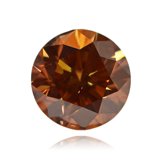 Orange Diamond, Round, Fancy Vivid Pinkish Orange, 0.62 Carat