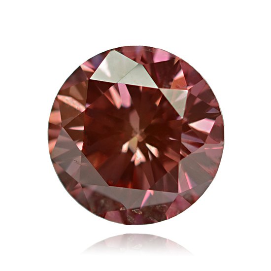Pink Diamond, Round, Fancy Vivid Orange Pink, 0.42 Carat
