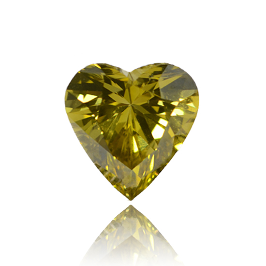 Yellow Diamond, Heart, Fancy Vivid Greenish Yellow, 1.01 Carat