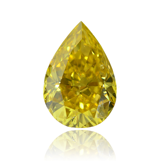 Yellow Diamond, Pear, Fancy Vivid Green Yellow, 1.59 Carat