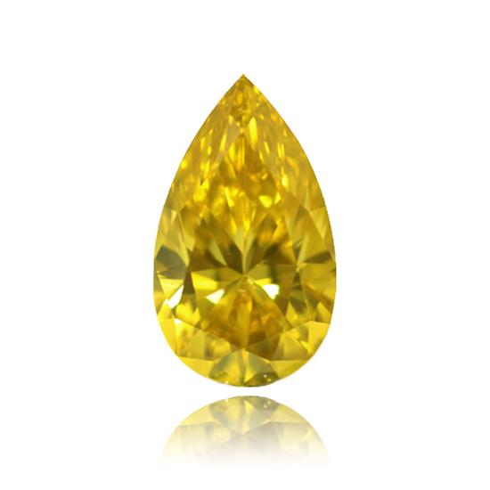 Yellow Diamond, Pear, Fancy Vivid Yellow, 1.02 Carat