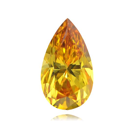 Yellow Diamond, Pear, Fancy Vivid Orange Yellow, 1.00 Carat