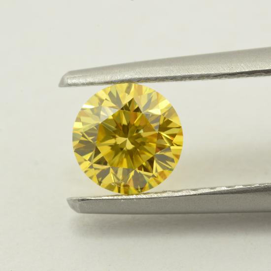 Yellow Diamond, Round, Fancy Vivid Yellow, 0.10 Carat