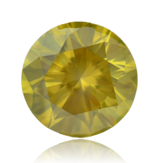 Yellow Diamond, Round, Fancy Vivid Greenish Yellow, 5.78 Carat