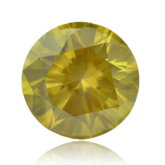 Yellow Diamond, Round, Fancy Vivid Greenish Yellow, 5.28 Carat