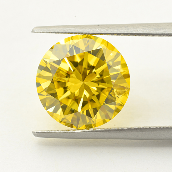 Yellow Diamond, Round, Fancy Vivid Yellow, 6.09 Carat
