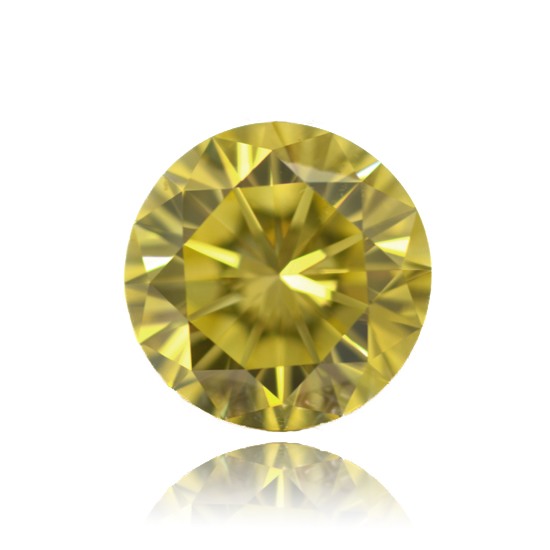 Yellow Diamond, Round, Fancy Vivid Yellow, 0.61 Carat