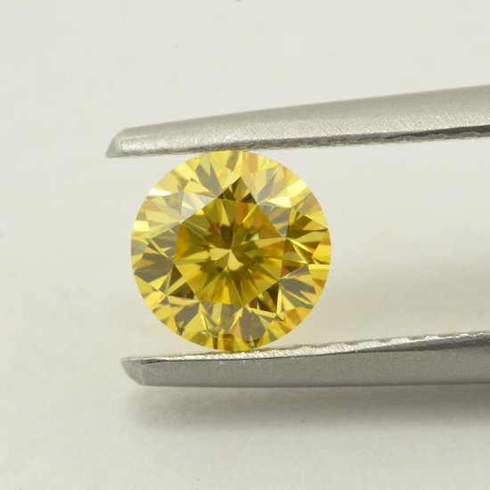 Yellow Diamond, Round, Fancy Vivid Yellow, 0.64 Carat