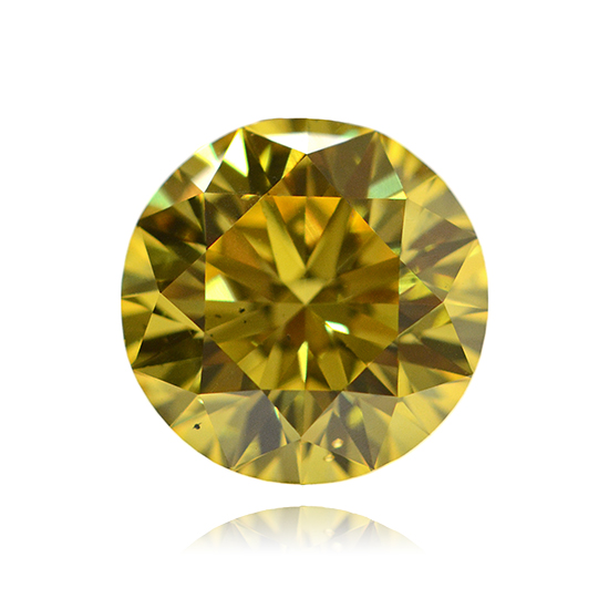 Yellow Diamond, Round, Fancy Vivid Yellow, 0.96 Carat